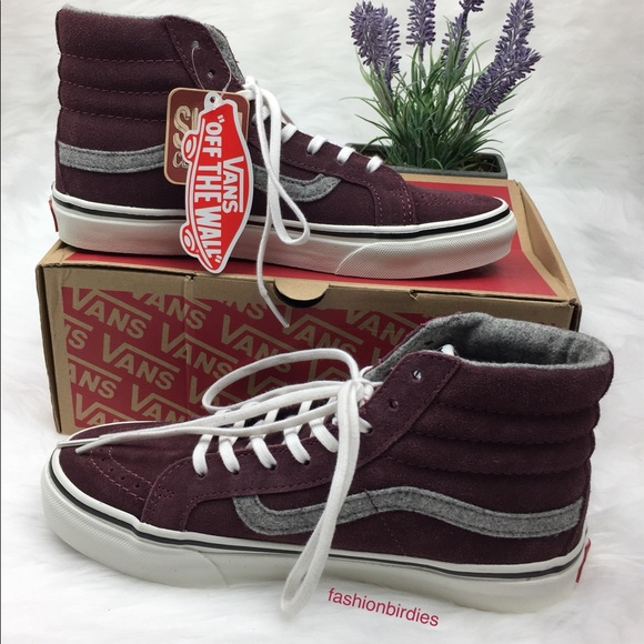4f788715f50a69 NWT Vans SK8-Hi Slim Vintage Suede Red Magohany
